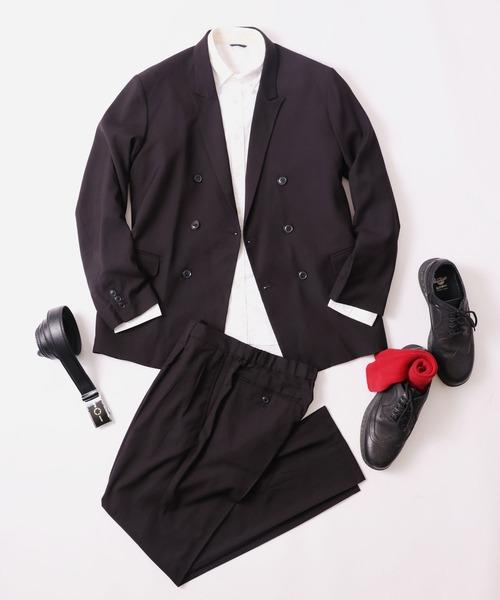 【Garageroom】上下2点パンツスーツセットアップ TR ダブルブレスト6ボタンジャケット&TRイージーパンツ SETUP