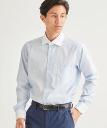 スリム E/I シャドウストライプ セミワイド クレリック ドレスシャツ<機能性 / イージーアイロン>