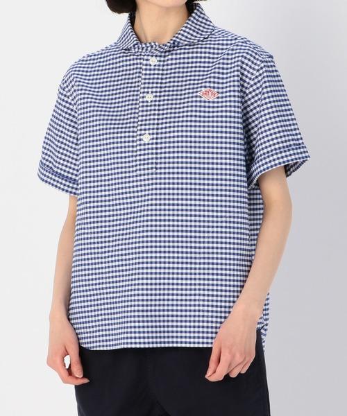 Danton(ダントン)の「【DANTON】半袖丸襟プルオーバーシャツ TRD CHECK WOMEN(シャツ/ブラウス)」|ブルー系その他