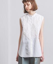 UGCMD フリル スタンドカラー ノースリーブシャツ