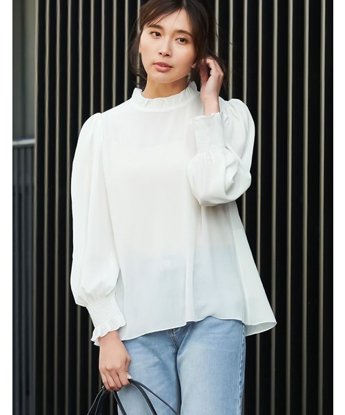 Re:EDIT(リエディ)の「楊柳シフォンフリルネックボリューム袖ブラウストップス(シャツ/ブラウス)」|ホワイト