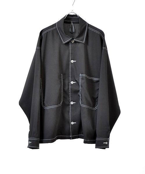 UP START(アップスタート)の「シャイニーツイルホワイトステッチワイドシャツジャケット(シャツ/ブラウス)」|ブラック