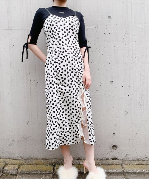 lilLilly(リルリリー)の「ハートロングキャミドレス(ワンピース)」|ホワイト