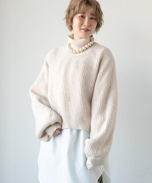 merlot(メルロー)の「袖パフハイネックニット(ニット/セーター)」|ナチュラル
