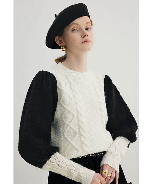 【Fano Studios】【2021AW】Cable switching crew neck knit FD21S036