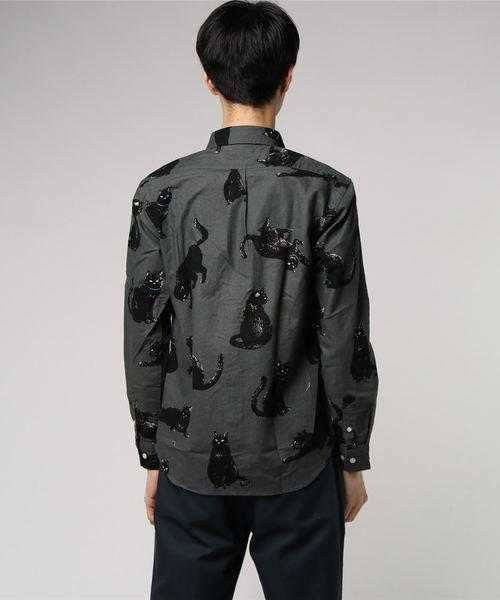 黒猫イラストレギュラーシャツ 日本製