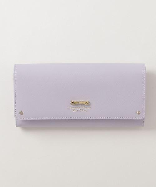 Samantha Thavasa Petit Choice(サマンサタバサ プチチョイス)の「リボン金具シリーズかぶせ長財布(財布)」|ラベンダー