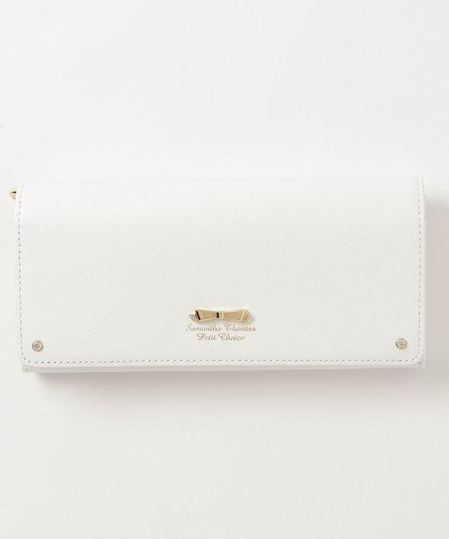 Samantha Thavasa Petit Choice(サマンサタバサ プチチョイス)の「リボン金具シリーズかぶせ長財布(財布)」|ホワイト