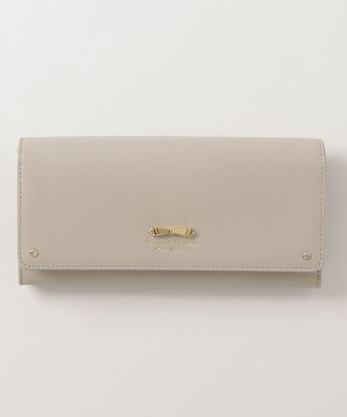 Samantha Thavasa Petit Choice(サマンサタバサ プチチョイス)の「リボン金具シリーズかぶせ長財布(財布)」|グレイッシュベージュ