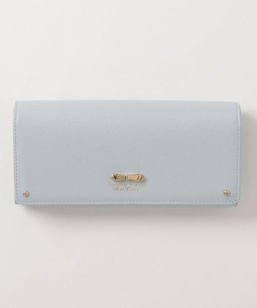 Samantha Thavasa Petit Choice(サマンサタバサ プチチョイス)の「リボン金具シリーズかぶせ長財布(財布)」|ライトブルー