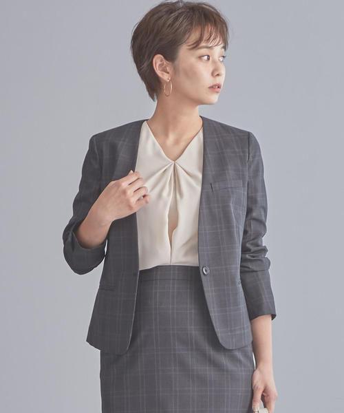 【WORK TRIP OUTFITS】D TW チェック ノーラペル ジャケット