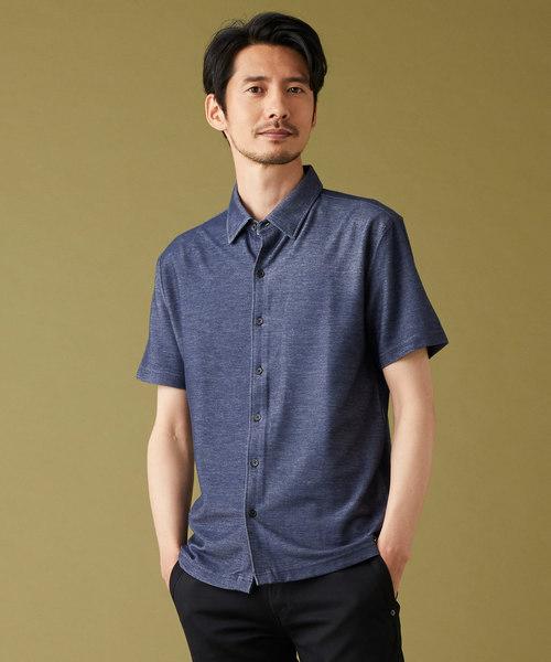 MORGAN HOMME(モルガンオム)の「デニムライクポロ(ポロシャツ)」|ブルー
