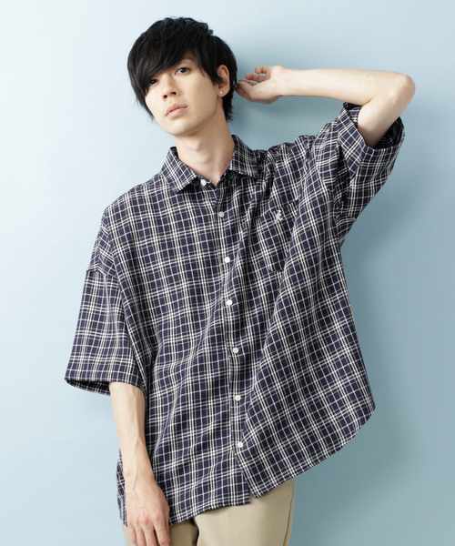 KANGOL×MONO-MART/カンゴール 別注ビッグシルエット チェックシャツ 半袖