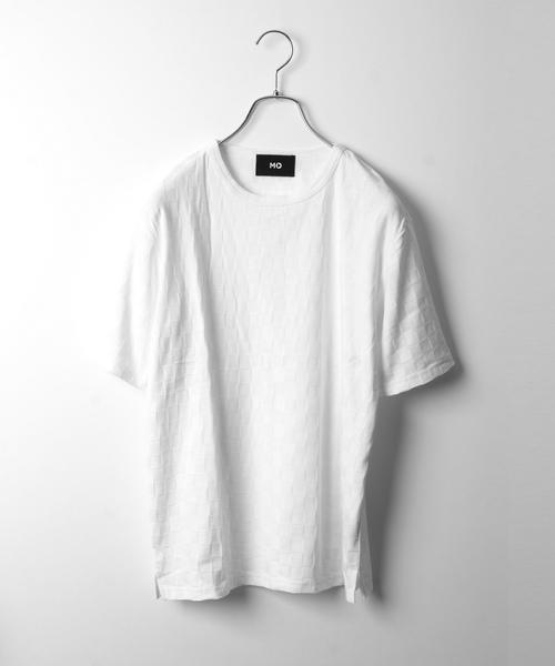 MORGAN HOMME(モルガンオム)の「ナノテック格子リンクス(Tシャツ/カットソー)」|ホワイト