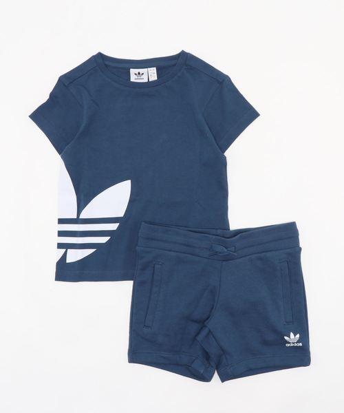 adidas Originals(アディダスオリジナルス)の「adidas originals アディダスオリジナルズ/BIG TREFOIL TEE SETキッズ向け2ピースアウトフィット TREFOIL柄 セットアップ setup(Tシャツ/カットソー)」|ブルー