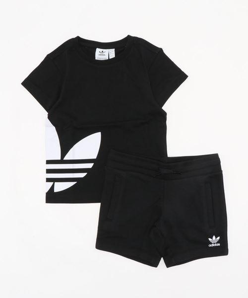 adidas Originals(アディダスオリジナルス)の「adidas originals アディダスオリジナルズ/BIG TREFOIL TEE SETキッズ向け2ピースアウトフィット TREFOIL柄 セットアップ setup(Tシャツ/カットソー)」|ブラック