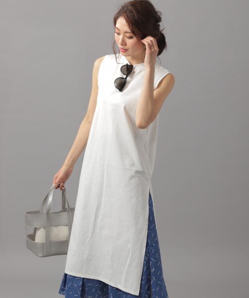 Andemiu(アンデミュウ)の「サマーロングカットソー834681(Tシャツ/カットソー)」|オフホワイト