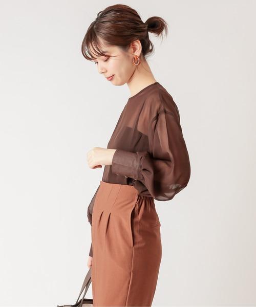 natural couture(ナチュラルクチュール)の「【WEB限定】ボリュームスリーブシアーブラウス(シャツ/ブラウス)」|ダークブラウン