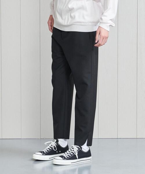 <H>TROPICAL WOOL×MOHAIR SLIT PANTS/パンツ