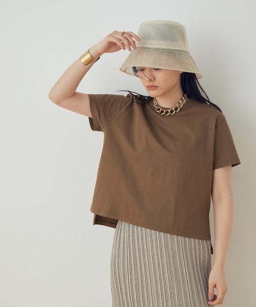 ADAM ET ROPE'(アダムエロペ)の「【UVケア】ファンデーションコンパクトTシャツ(Tシャツ/カットソー)」|ダークブラウン