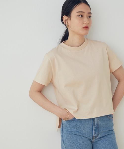 ADAM ET ROPE'(アダムエロペ)の「【UVケア】ファンデーションコンパクトTシャツ(Tシャツ/カットソー)」|ベージュ