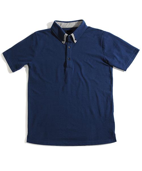 ラインカラー鹿の子半袖ポロシャツ