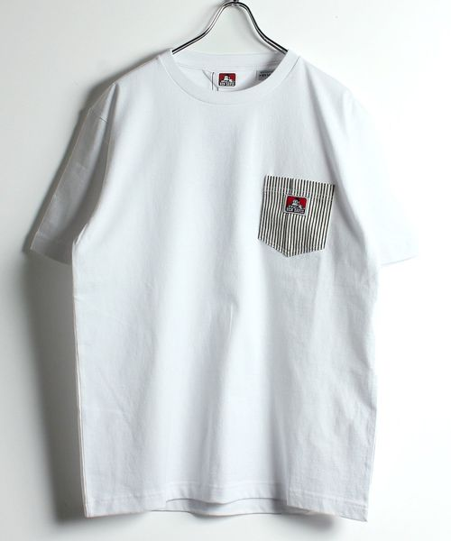 BEN DAVIS/デニムヒッコリーポケット半袖Tシャツ