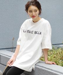 Bou Jeloud(ブージュルード)の◆厚地なので透けにくい◆コットン素材ロゴ入りBIG Tシャツ(Tシャツ/カットソー)