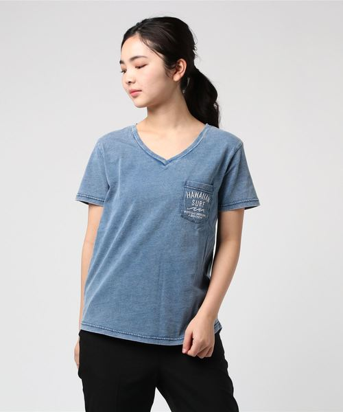 UNDERWRAPS / アンダーラップス インディゴ染めロゴ刺繍Tシャツ