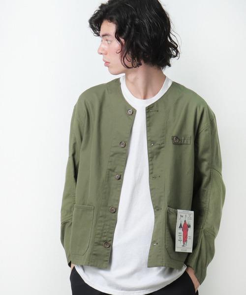 【 CAL O LINE / キャル オー ライン] ING JACKET ワークジャケット ノーカラー CL212053 SES