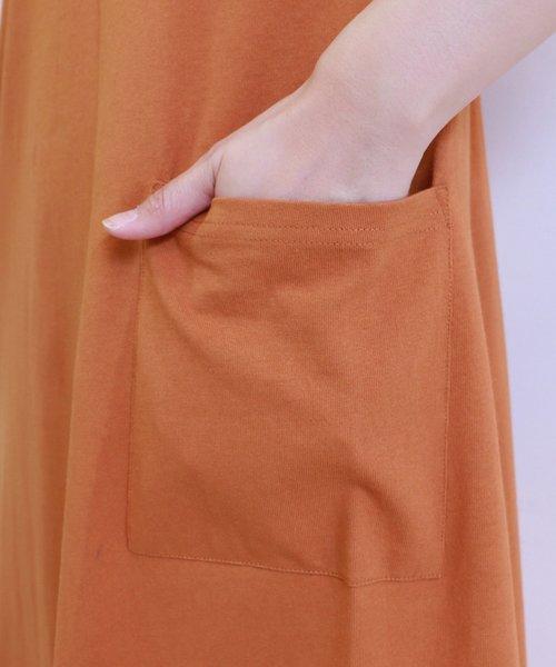 空紡糸半袖Aラインワンピース