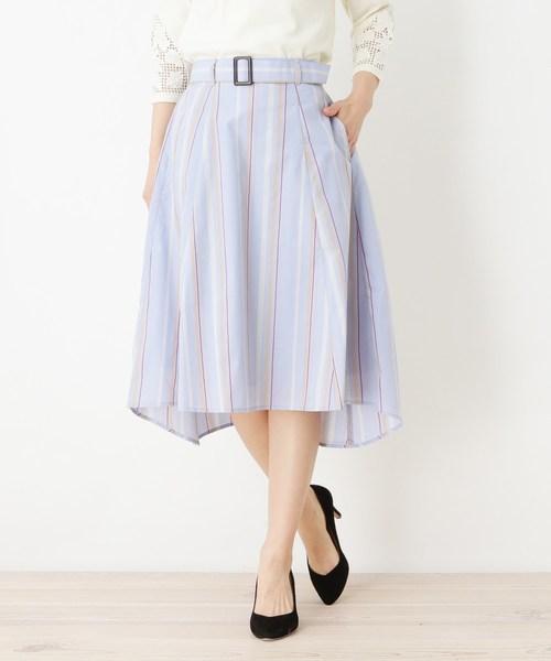 pink adobe(ピンクアドベ)の「ベルト付防シワイレヘムスカート(スカート)」 ブルー系7