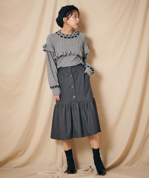 マエボタンマーメイドレトロスカート