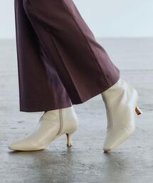 ナロウスクエア ショートブーツ(5.5cmヒール) -撥水-