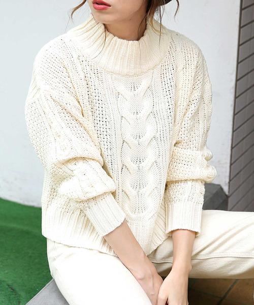 select MOCA(セレクトモカ)の「柔らかいペールカラーで春先まで使える◆ケーブル透かし編み長袖リブハイネックニット(ニット/セーター)」|オフホワイト