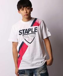 【STAPLE】フロントロゴ&クロスライン柄クルーネックTシャツ(Tシャツ/カットソー)