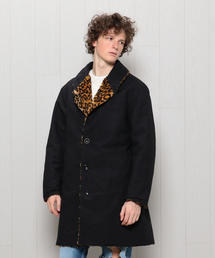<Engineered Garments>LEOPARD REVERSIBLE SHAWL COLLAR COAT/コート.