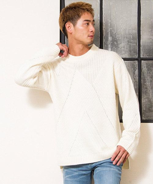 バイアス編み柄ビッグシルエットクルーネック長袖ニットセーター / CAST18-189