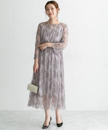 URBAN RESEARCH ROSSO WOMEN(アーバンリサーチ ロッソ)の配色レースミディドレス(ドレス)