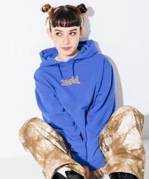 X-girl(エックスガール)のLEOPARD LOGO SWEAT HOODIE(パーカー)