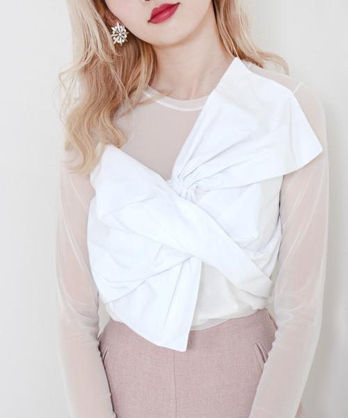 Narcissus(ナルシス)の「【cheap!!by vaNite】ビックリボンTOPS(Tシャツ/カットソー)」|ホワイト