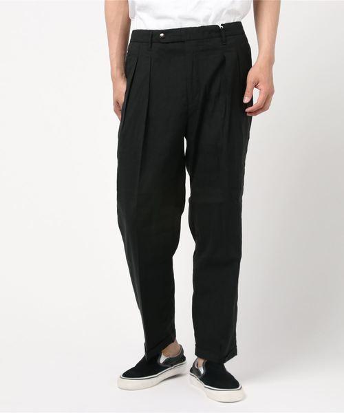 lideal(リデアル)の「lideal 2タックリラックストラウザー POST/95261502(パンツ)」|ブラック