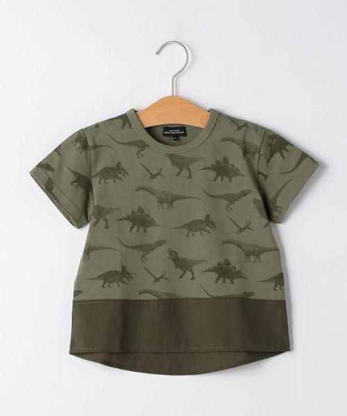 恐竜総柄プリントコンビ Tシャツ