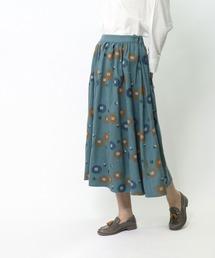 *【 marble sud / マーブルシュッド 】 EMBツバキラインスカート 07AF065028・・ターコイズブルー