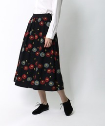 *【 marble sud / マーブルシュッド 】 EMBツバキラインスカート 07AF065028・・ブラック