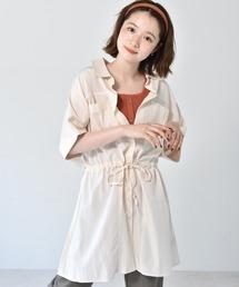 ドロストチュニックシャツオフホワイト