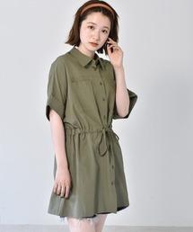 ドロストチュニックシャツグリーン