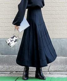 select MOCA(セレクトモカ)のブロックニットスカート/ウィンドウペン柄ミモレ丈ニットスカート(スカート)