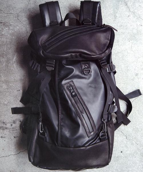 DECADE(ディケイド)の「マットナイロンxレザー・バックパック DECADE(No-00400N) ディケイド Matte Nylon X Oiled Leather Back Pack(バックパック/リュック)」|ブラック