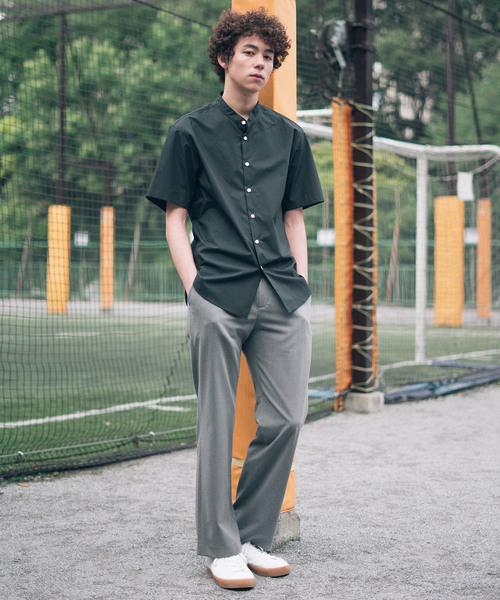 【SOCIAL WEAR】バンドカラーショートスリーブシャツ